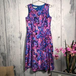 Kasper Floral Jacquard Semi Circular Dress. Sz 10